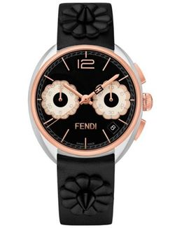 Momento Floral Chronograph Leather Strap Watch