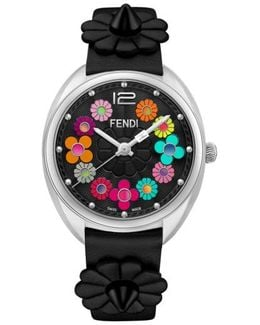 Momento Floral Leather Strap Watch