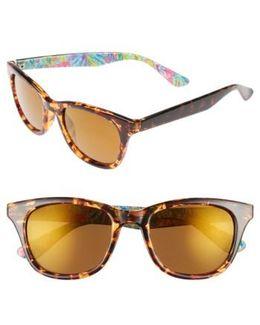 Lilly Pulitzer Maddie 52mm Polarized Mirrored Sunglasses - Havana