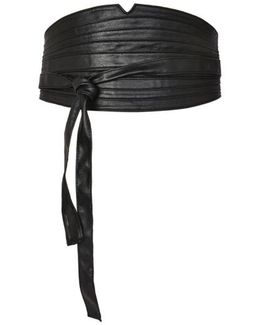 Faux Leather Obi Wrap Belt