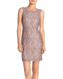 Boatneck Lace Sheath Dress