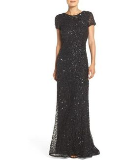 Short Sleeve Sequin Mesh Gown