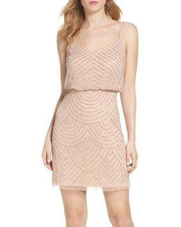 Sequin Mesh Blouson Dress