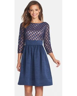 Dot Mesh Bodice Fit & Flare Dress