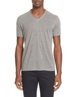 V-neck Linen T-shirt