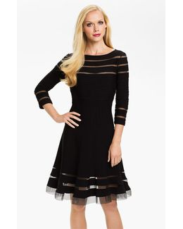 Mesh Stripe Fit & Flare Dress