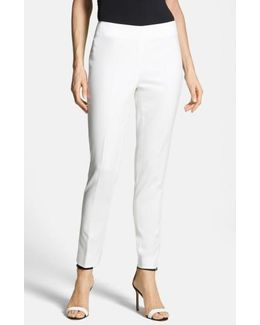 Side Zip Double Weave Stretch Cotton Pants