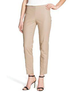 Side Zip Double Weave Stretch Cotton Pants
