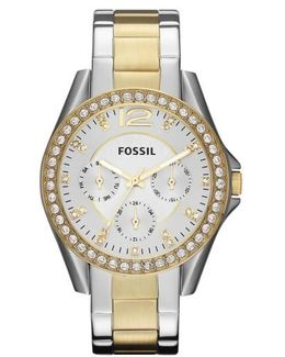 'riley' Round Crystal Bezel Bracelet Watch
