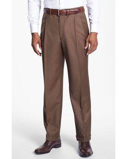'luxury Serge' Double Pleated Wool Trousers