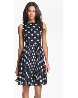 Burnout Polka Dot Fit & Flare Dress