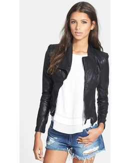 Zipped Faux-Leather Jacket