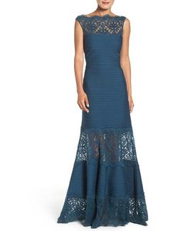 Illusion Lace & Jersey Gown