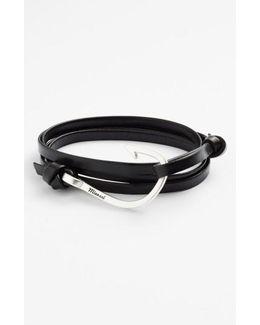Silver Hook Leather Bracelet
