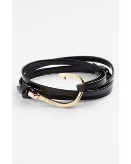 Gold Hook Leather Bracelet