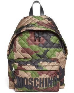 Quilted Nylon Logo Backpack