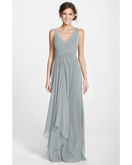 Sleeveless V-neck Chiffon Gown