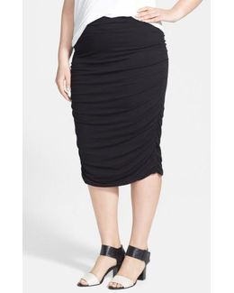 Ruched Stretch Knit Midi Skirt