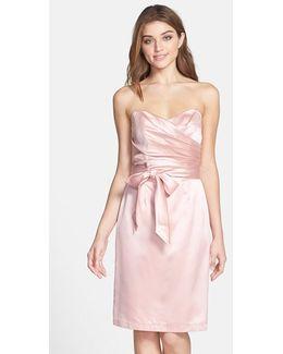 Cross Draped Strapless Satin Sheath Dress