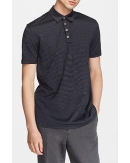 'hampton' Stripe Silk & Cotton Polo