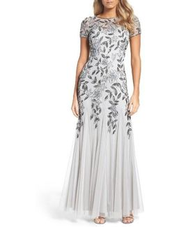 Floral Beaded Trumpet Gown