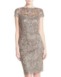 Illusion-Yoke Lace Sheath Dress