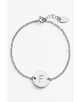 Sterling Silver Initial Disc Bracelet