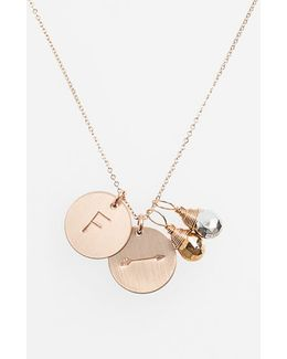 Pyrite Initial & Arrow 14k-gold Fill Disc Necklace
