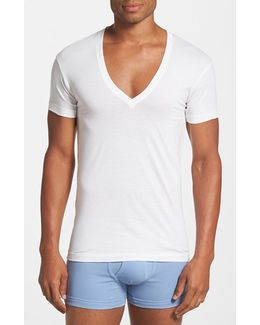 Slim Fit Pima Cotton Deep V-neck T-shirt