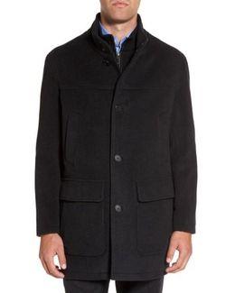 Wool Blend Top Coat With Inset Bib