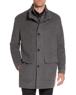 Wool Blend Top Coat With Inset Bib