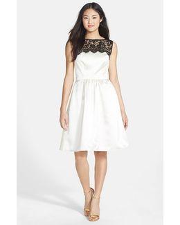 Sleeveless Lace & Satin Cocktail Dress