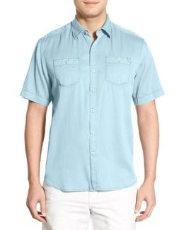 'new Twilly' Island Modern Fit Short Sleeve Twill Shirt