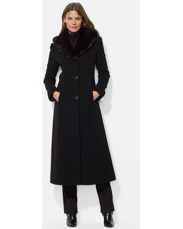 Faux Fur Shawl Collar Long Wool Blend Coat