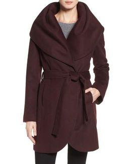 Wool Blend Belted Wrap Coat