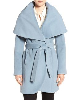 Wool-Blend Belted Wrap Coat