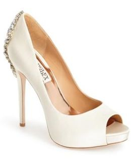 'kiara' Crystal Back Open Toe Pump