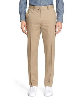 Washed Trim Fit Stretch Cotton Trousers