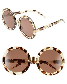 'malibu' 56mm Round Sunglasses - Amber Tortoise/ Gold/ Brown