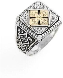 Silver & Gold Classics Square Ring