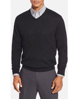 'douglas' Merino Wool Blend V-neck Sweater