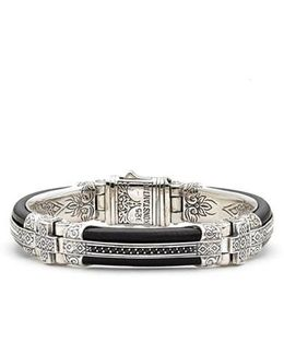 Plato Etched Sterling Silver & Leather Bracelet
