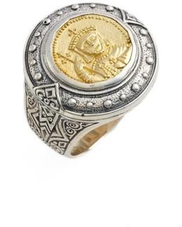 Byzantium Carved Face Ring