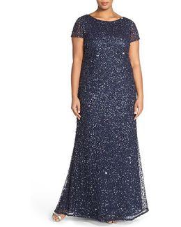 Embellished Scoop Back Gown