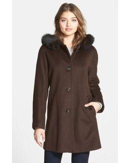 Kimono Sleeve Jacket With Genuine Fox Fur Trim (petite)