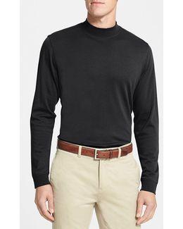 Long Sleeve Mock Neck Pima Cotton T-Shirt