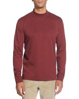 'belfair' Long Sleeve Mock Neck Pima Cotton T-shirt