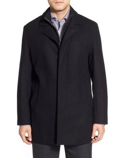 Wool Blend Top Coat With Inset Knit Bib