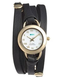 'saturn' Leather Wrap Bracelet Watch