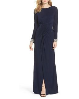 Beaded Cuff Ruched Jersey Gown